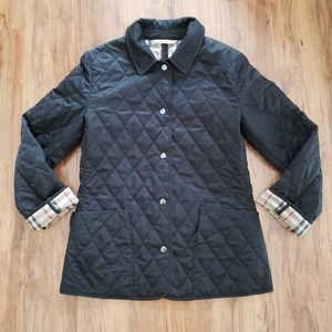 Burberry Quilted Plaid Lined Snap Front Jacket XS